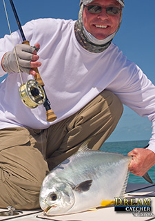 Permit caught on fly fishing in the Marquesas Keys