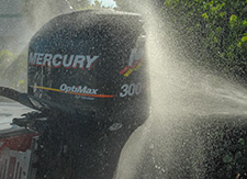 Mercury 300 XS outboard motor getting a bath