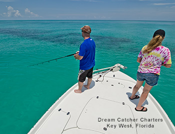 Anglers fishing the bow of Key West boat with Dream Catcher Charters